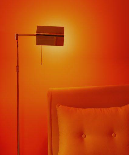 black floor lamp beside white sofa
